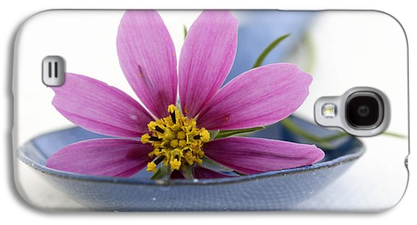 Still Life With Pink Flower On A Blue Spoon Galaxy S4 Case by Frank Tschakert