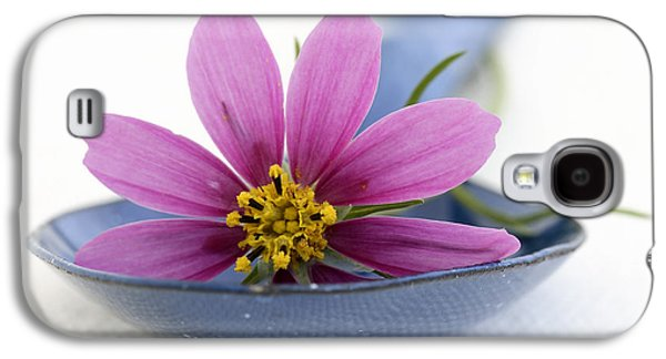 Gardening Photography Galaxy S4 Cases - Still Life With Pink Flower On A Blue Spoon Galaxy S4 Case by Frank Tschakert