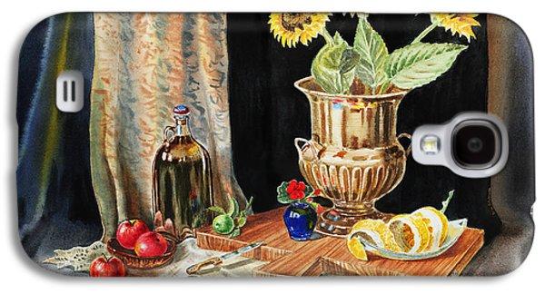 Sunflower Paintings Galaxy S4 Cases - Still Life With Sunflowers Lemon Apples And Geranium  Galaxy S4 Case by Irina Sztukowski