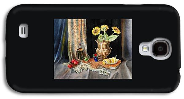 Interior Still Life Paintings Galaxy S4 Cases - Still Life With Sunflowers Lemon Apples And Geranium  Galaxy S4 Case by Irina Sztukowski