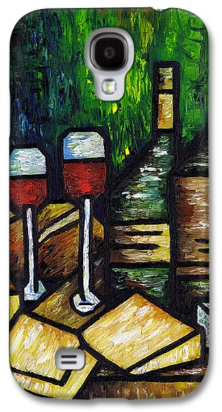 Italian Wine Paintings Galaxy S4 Cases - Still Life With Wine and Cheese Galaxy S4 Case by Kamil Swiatek