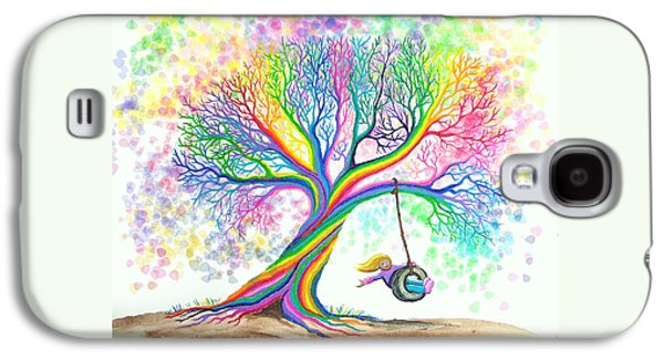 Playful Digital Galaxy S4 Cases - Still MOre Rainbow Tree Dreams Galaxy S4 Case by Nick Gustafson