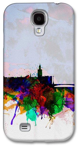 European City Digital Art Galaxy S4 Cases - Stockholm Watercolor Skyline Galaxy S4 Case by Naxart Studio