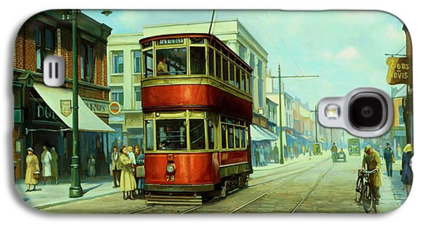 Streetscenes Paintings Galaxy S4 Cases - Stockport tram. Galaxy S4 Case by Mike  Jeffries