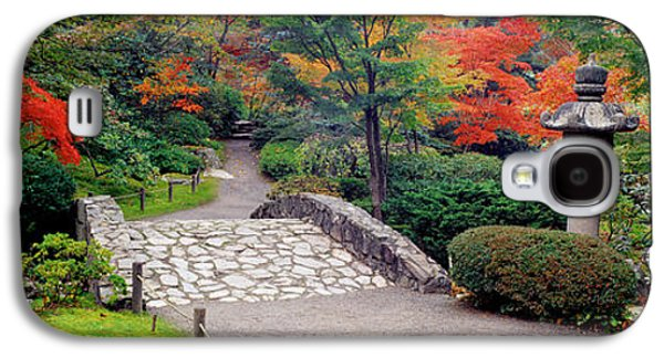 Green Foliage Galaxy S4 Cases - Stone Bridge, The Japanese Garden Galaxy S4 Case by Panoramic Images