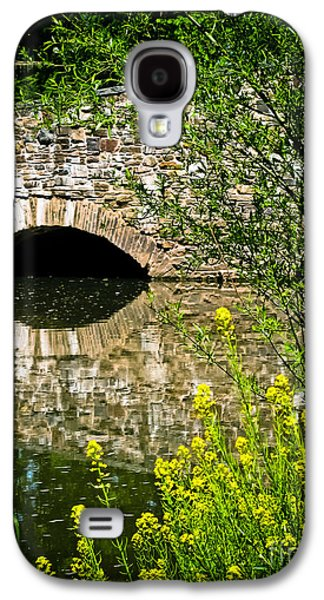 Original Art Photographs Galaxy S4 Cases - Stone Bridge with Yellow Flowers Galaxy S4 Case by Colleen Kammerer