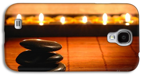 Soft Photographs Galaxy S4 Cases - Stone Cairn and Candles for Quiet Meditation Galaxy S4 Case by Olivier Le Queinec