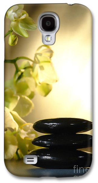 Stone Galaxy S4 Cases - Stone Cairn and Orchids Galaxy S4 Case by Olivier Le Queinec