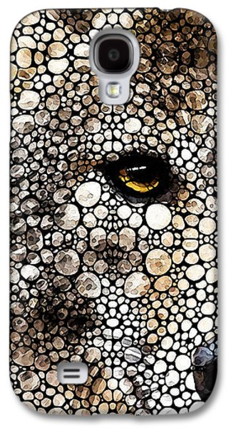 Stone Rock'd Wolf Art By Sharon Cummings Galaxy S4 Case by Sharon Cummings