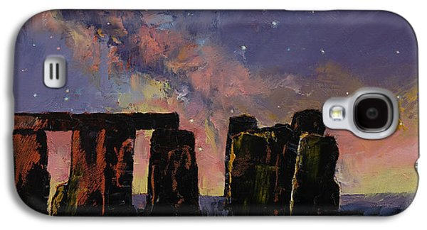 Milky Way Paintings Galaxy S4 Cases - Stonehenge Galaxy S4 Case by Michael Creese