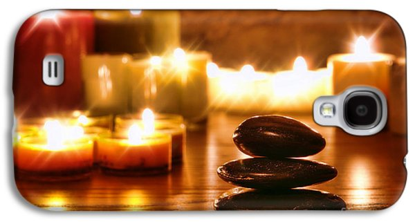 Meditative Photographs Galaxy S4 Cases - Stones Cairn and Candles Galaxy S4 Case by Olivier Le Queinec
