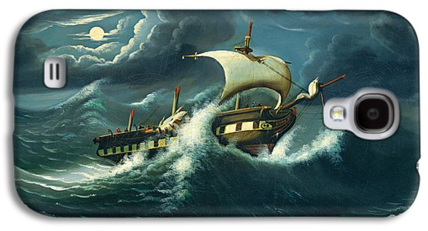 Frigates Paintings Galaxy S4 Cases - Storm-Tossed Frigate Galaxy S4 Case by Thomas Chambers