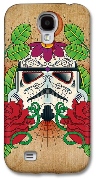 Flower Design Photographs Galaxy S4 Cases - Storm Trooper Sugar Skull Galaxy S4 Case by Samuel Whitton