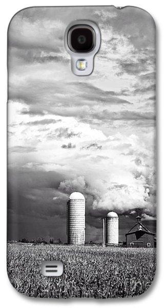 Silos Galaxy S4 Cases - Stormy Weather on the Farm Galaxy S4 Case by Edward Fielding