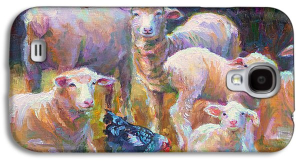 Barn Yard Galaxy S4 Cases - Stranger at the Well - spring lambs sheep and hen Galaxy S4 Case by Talya Johnson