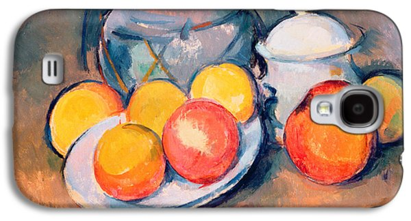 Floral Still Life Galaxy S4 Cases - Straw Covered Vase Sugar Bowl and Apples Galaxy S4 Case by Paul Cezanne