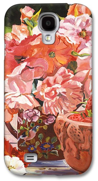 Pottery Paintings Galaxy S4 Cases - Strawberries And Flowers Galaxy S4 Case by David Lloyd Glover