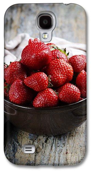 Orange Pyrography Galaxy S4 Cases - Strawberries Galaxy S4 Case by Jelena Jovanovic
