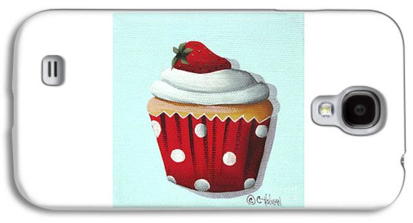 Catherine White Paintings Galaxy S4 Cases - Strawberry Shortcake Cupcake Galaxy S4 Case by Catherine Holman