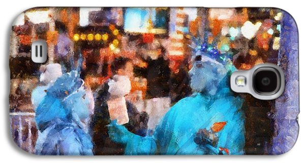 Statue Of Liberty Mixed Media Galaxy S4 Cases - Street Actors In Times Square Galaxy S4 Case by Dan Sproul