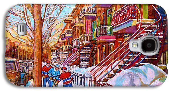 Montreal Streets Paintings Galaxy S4 Cases - Street Hockey Game In Montreal Winter Scene With Winding Staircases Painting By Carole Spandau Galaxy S4 Case by Carole Spandau