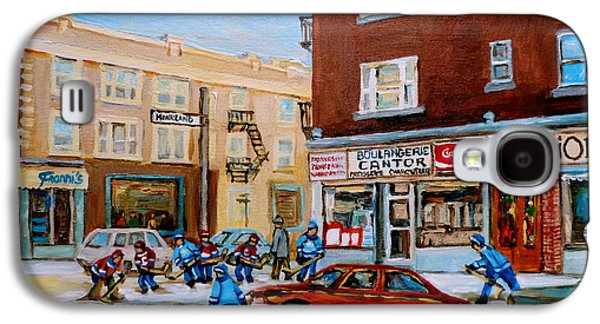 Store Fronts Paintings Galaxy S4 Cases - Street Hockey On Monkland Avenue Paintings Of Montreal City Scenes Galaxy S4 Case by Carole Spandau