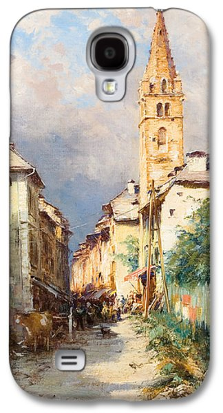 Town Paintings Galaxy S4 Cases - Street in Barcelonette Galaxy S4 Case by Charles Alexandre Bertier