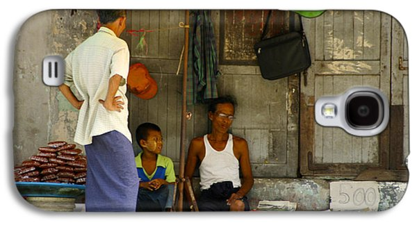 In The Shade Galaxy S4 Cases - Street Seller Sitting In The Shade Under An Umbrella Yangon Myanmar Galaxy S4 Case by Ralph A  Ledergerber-Photography