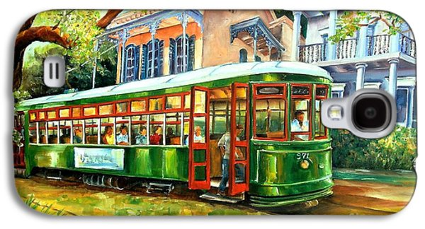 Oil Landscape Paintings Galaxy S4 Cases - Streetcar on St.Charles Avenue Galaxy S4 Case by Diane Millsap