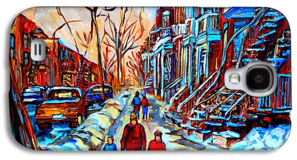 Quebec Streets Paintings Galaxy S4 Cases - Streets Of Montreal Galaxy S4 Case by Carole Spandau