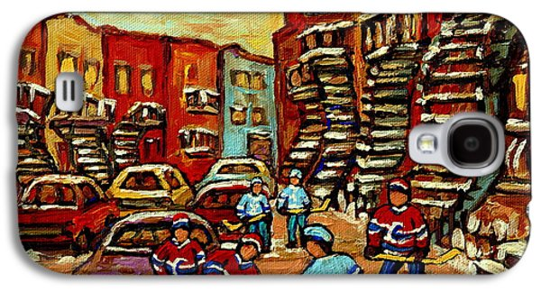 Streethockey Paintings Galaxy S4 Cases - Streets Of Verdun Paintings He Shoots He Scores Our Hockey Town Forever Montreal City Scenes  Galaxy S4 Case by Carole Spandau