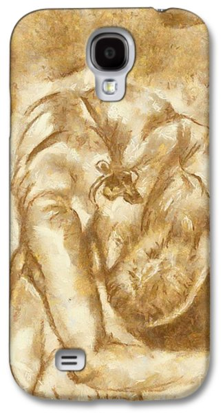 Painter Photo Mixed Media Galaxy S4 Cases - Stretching ballerina Galaxy S4 Case by Yanni Theodorou