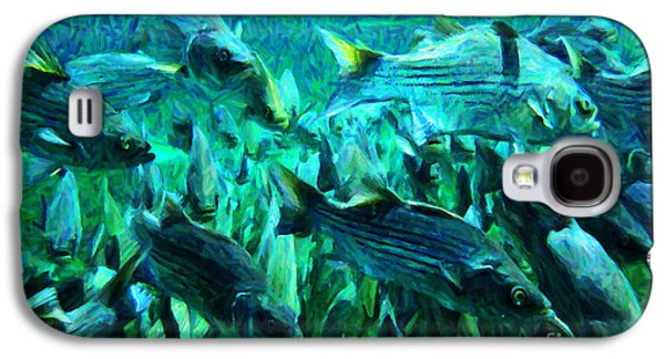 Schools Of Fish Galaxy S4 Cases - Striped Bass - Painterly v1 Galaxy S4 Case by Wingsdomain Art and Photography