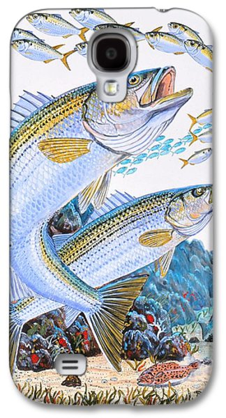 Stripes Paintings Galaxy S4 Cases - Striped Bass rocks Galaxy S4 Case by Carey Chen