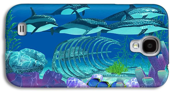 Dolphin Digital Galaxy S4 Cases - Striped Dolphin and Wreck Galaxy S4 Case by Corey Ford