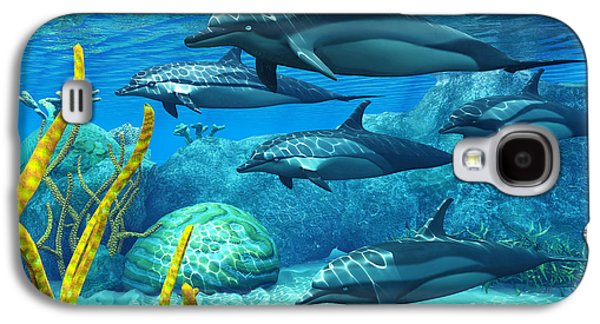 Dolphin Digital Galaxy S4 Cases - Striped Dolphins Galaxy S4 Case by Corey Ford