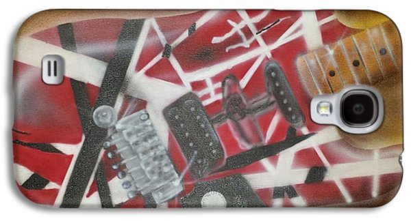 Van Halen Paintings Galaxy S4 Cases - Striped Guitar Galaxy S4 Case by Phillip Whitehead