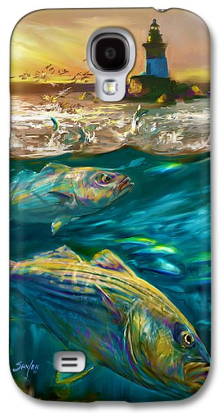 Striper And Lighthouse - Striped Bass Art Galaxy S4 Case by Savlen Art