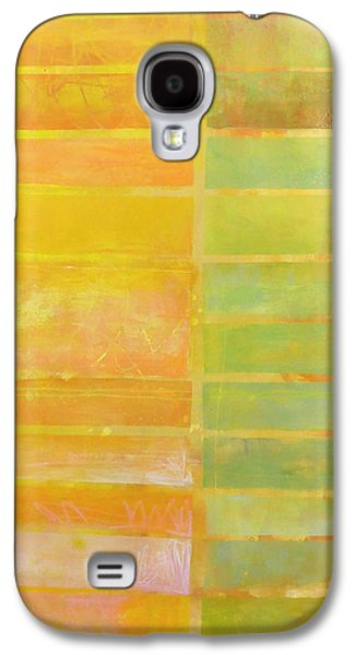 Stripes Paintings Galaxy S4 Cases - Stripes Yellow Galaxy S4 Case by Jane Davies
