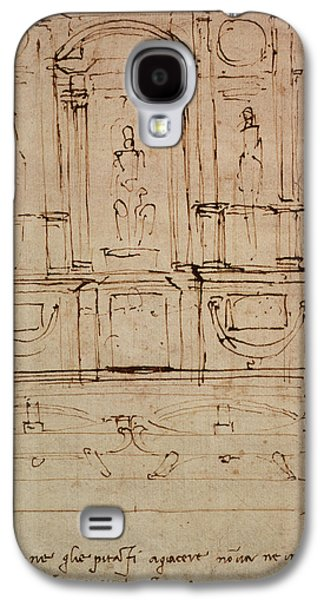 Drawing Galaxy S4 Cases - Study For A Double Tomb For The Medici Tombs In The New Sacristy, 1521 Pen & Ink On Paper Galaxy S4 Case by Michelangelo Buonarroti