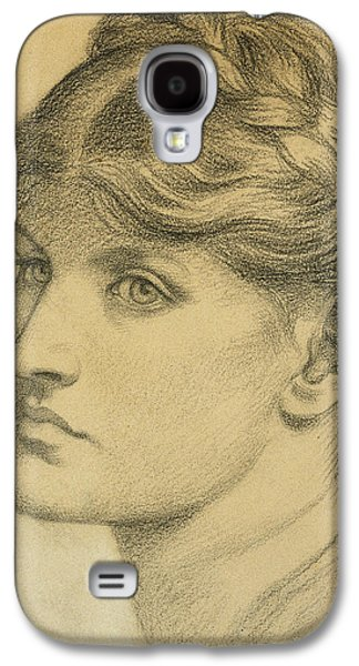 Gabriel Galaxy S4 Cases - Study of a Head for The Bower Meadow Galaxy S4 Case by Dante Charles Gabriel Rossetti