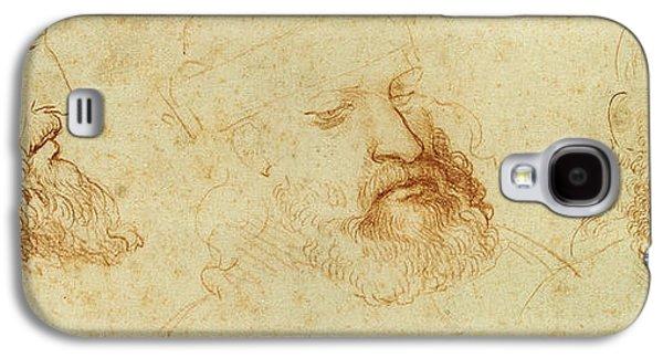 Contemplative Drawings Galaxy S4 Cases - Study of a male head Galaxy S4 Case by Leonardo Da Vinci