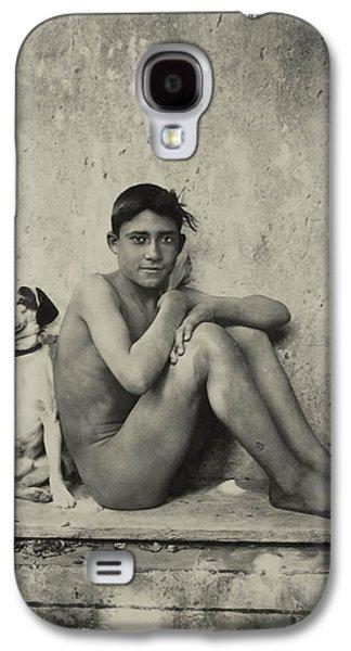 Portraits Photographs Galaxy S4 Cases - Study of a Nude Boy with Dog Galaxy S4 Case by Wilhelm von Gloeden