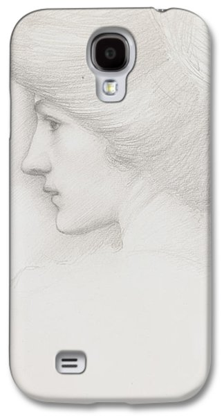 Updo Galaxy S4 Cases - Study of a womans head profile to left Galaxy S4 Case by Sir Edward Coley Burne-Jones