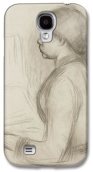 Impressionism Drawings Galaxy S4 Cases - Study of a Young Girl at the Piano Galaxy S4 Case by Pierre Auguste Renoir