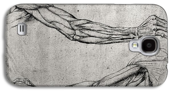 Ink Drawing Drawings Galaxy S4 Cases - Study of Arms Galaxy S4 Case by Leonardo Da Vinci