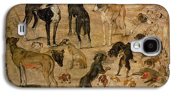 Puppies Galaxy S4 Cases - Study Of Hounds, 1616 Galaxy S4 Case by Jan the Elder Brueghel