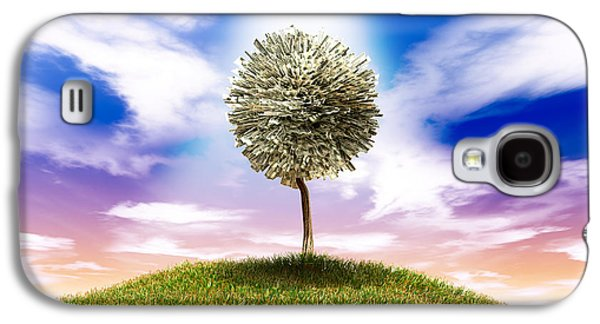 Money Galaxy S4 Cases - Stylised Money Tree American Dollar Notes On Grassy Hill Galaxy S4 Case by Allan Swart