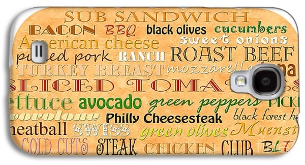 Swiss Mixed Media Galaxy S4 Cases - Sub Sandwich Typography Galaxy S4 Case by Andee Design