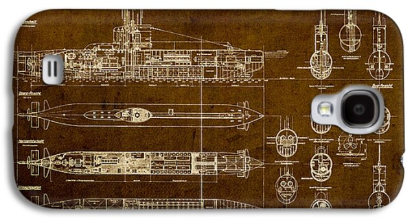 Worn Galaxy S4 Cases - Submarine Blueprint Vintage on Distressed Worn Parchment Galaxy S4 Case by Design Turnpike